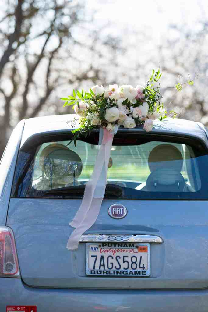 fiat 500 at almond orchard wedding