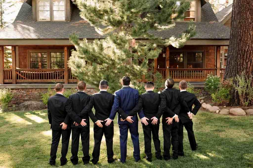 groom and groomsmen lake house