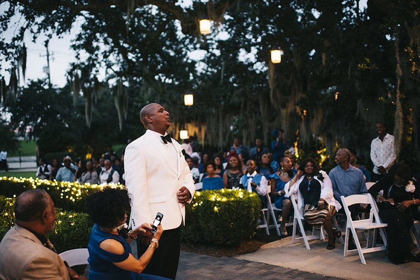 Groom anxiously waits for his bride
