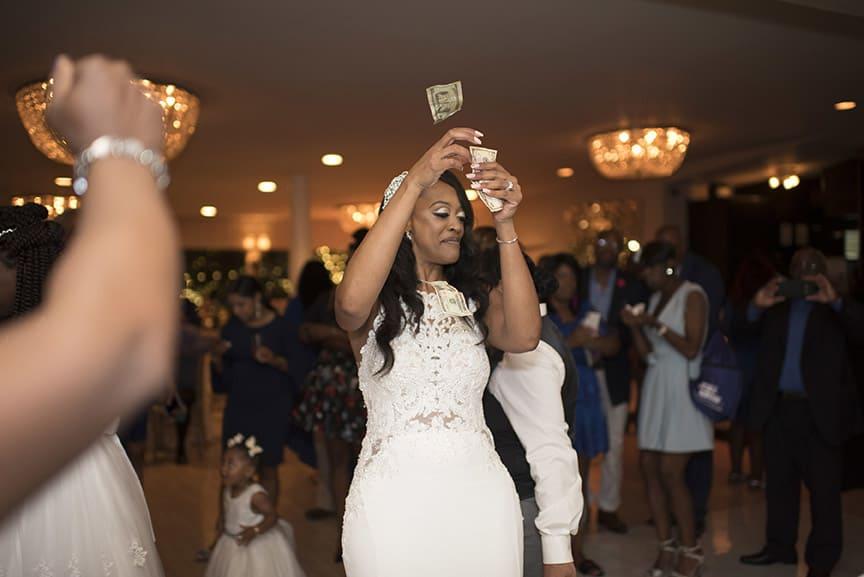 bride during money dance