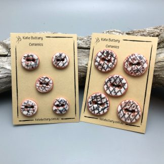 Handmade Textured Porcelain Buttons – Glazed White with Black and Orange Handpainted Design – Set of 5
