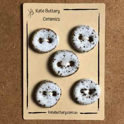 Handmade Rustic Ceramic Concave Buttons – Glazed White – Set of 5