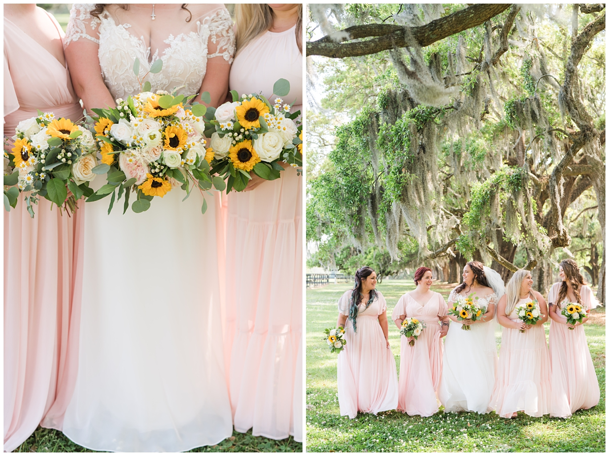 bride and bridesmaids in pink dresses with bouquets of sunflowers and pink flowers