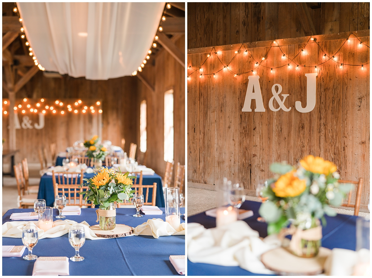 Boone Hall wedding reception with navy tablecloths