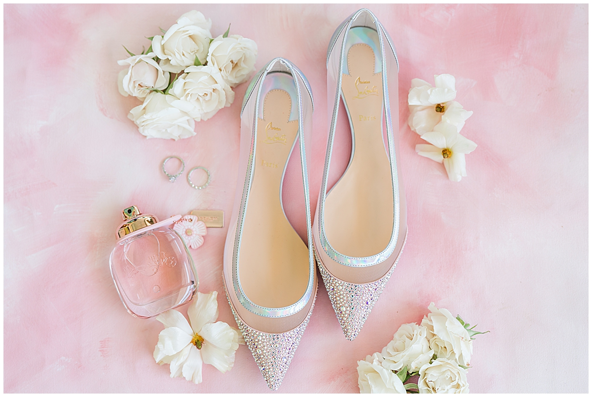 spring wedding details with silver shoes