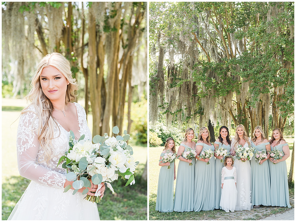 bride poses under tree in Charleston SC