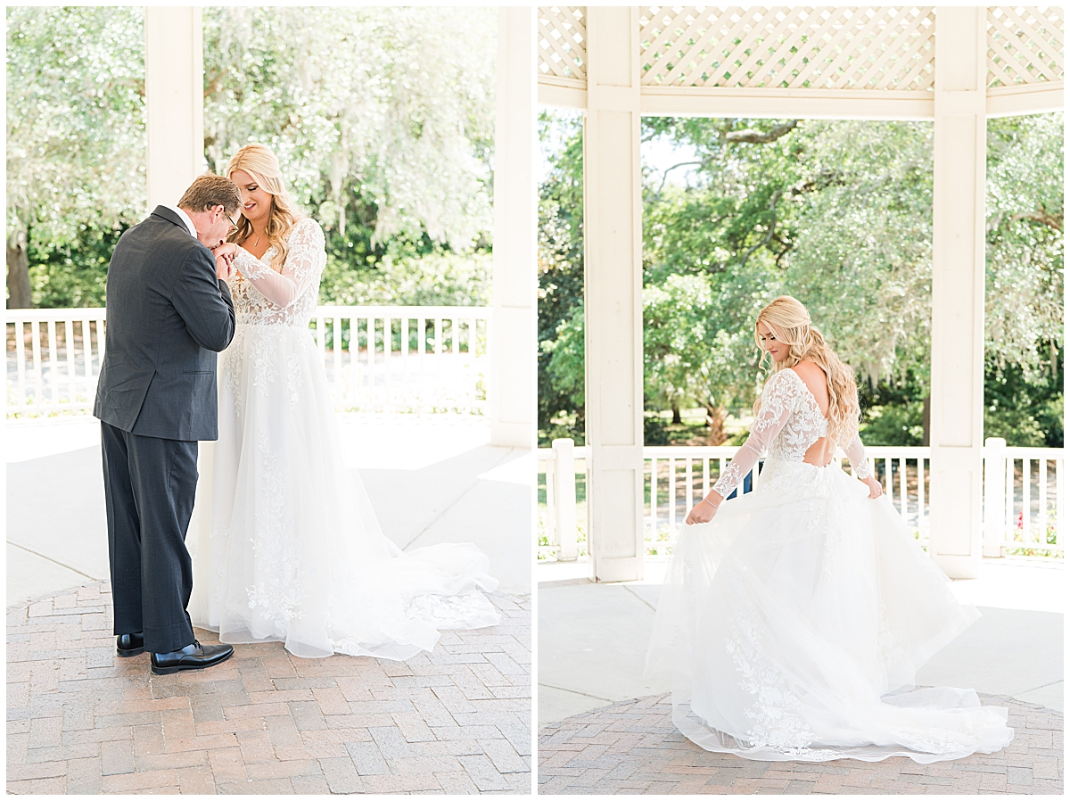 bride has first look with dad before Charleston SC