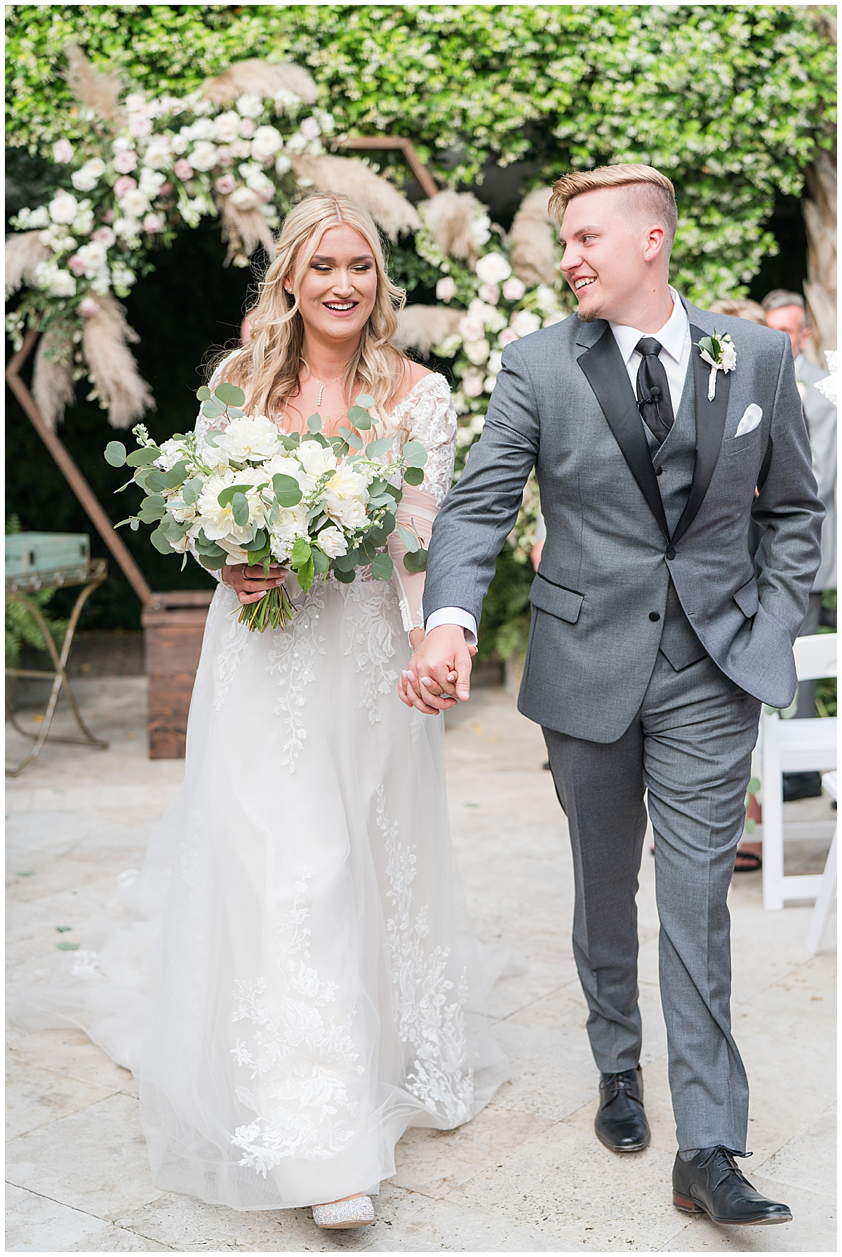 bride and groom walk down aisle after Cannon Green wedding ceremony