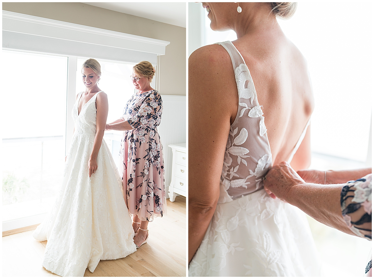 bride gets ready for wedding day with mother