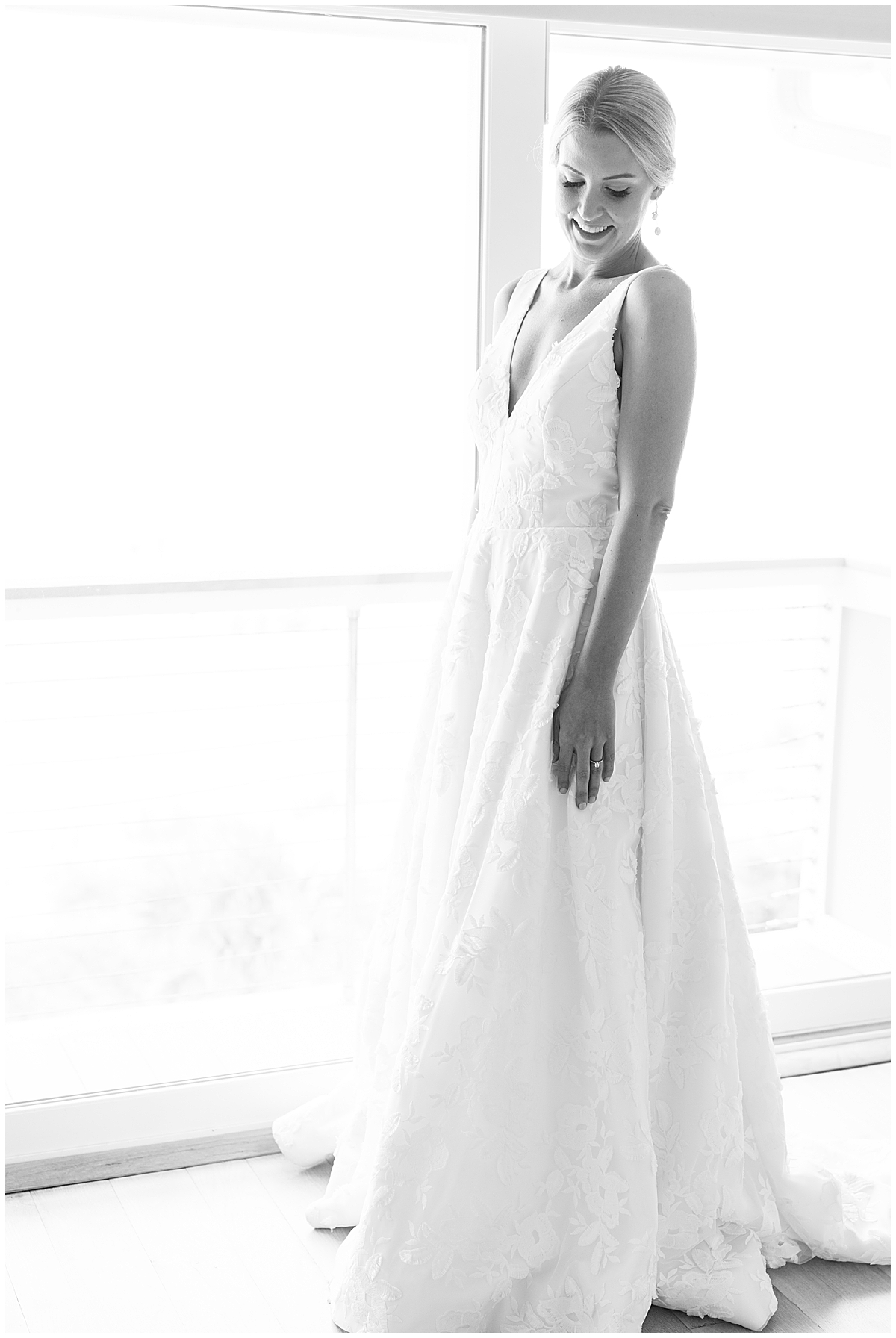 black and white bridal portrait before Charleston wedding