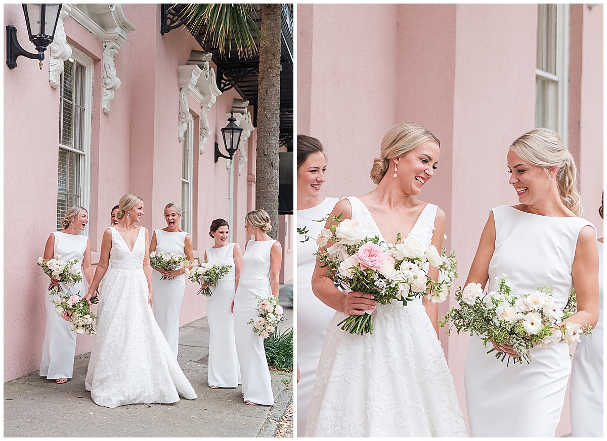 bride laughs with bridesmaids in white gowns in Charleston