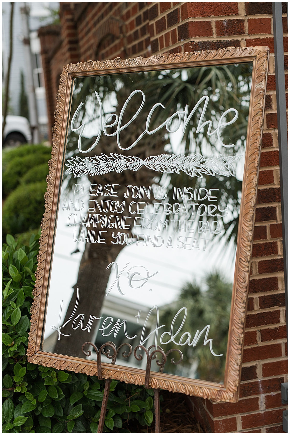 welcome sign on mirror for South Carolina wedding reception