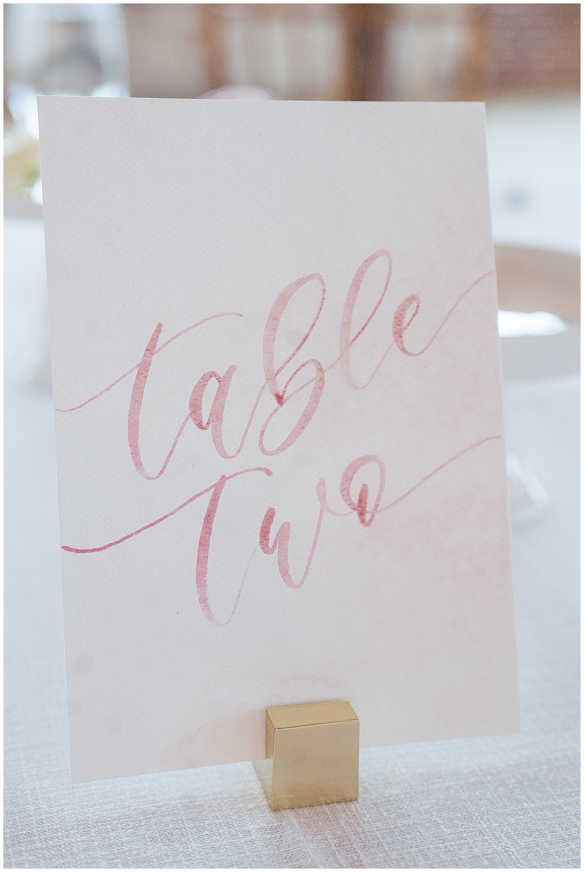 scripted table numbers for SC wedding reception