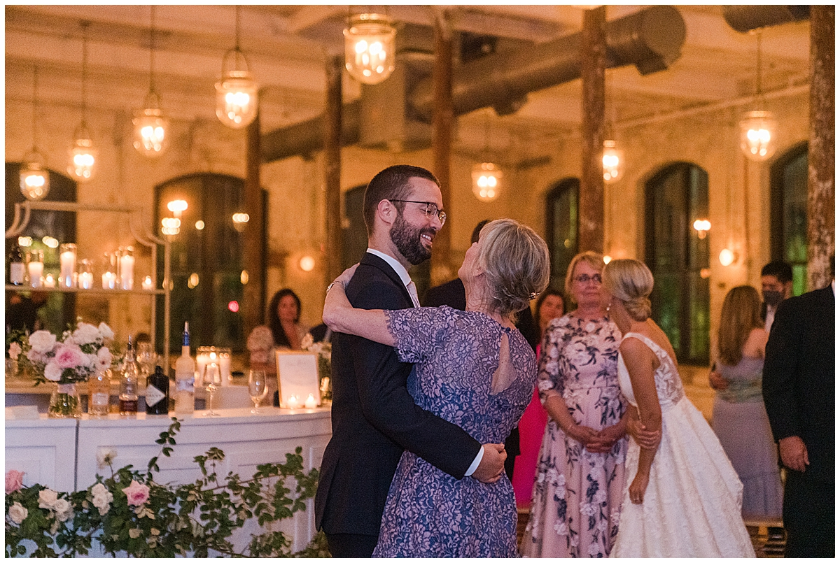 groom dances with mom during SC wedding reception
