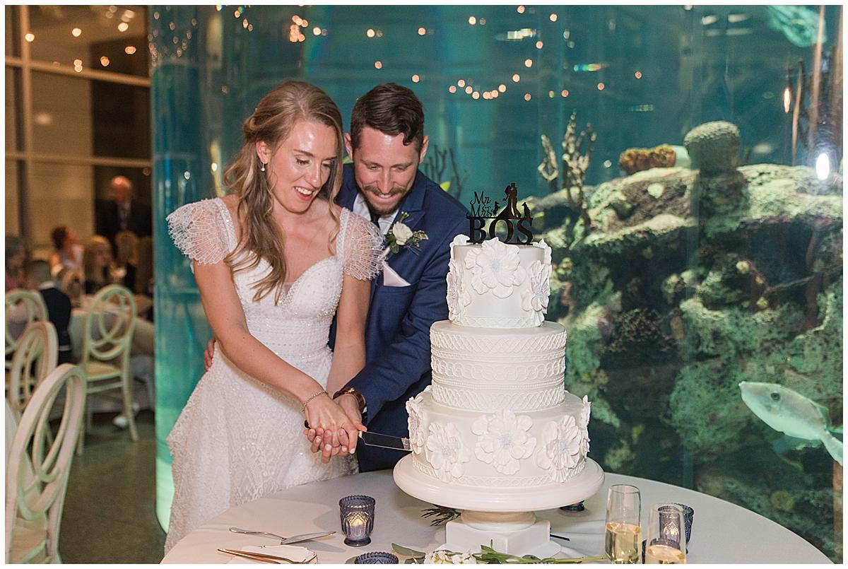 bride and groom cut wedding cake by aquarium display