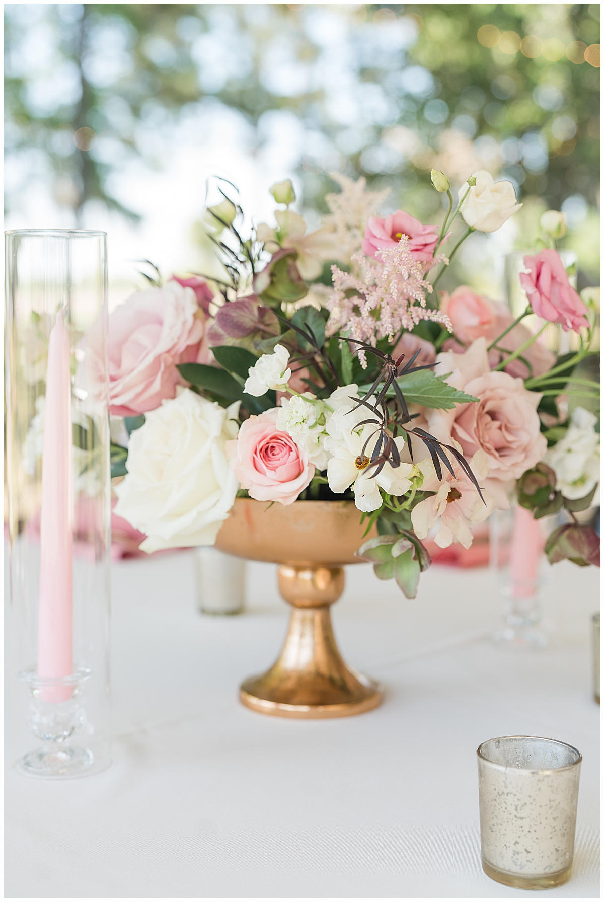 rose gold and pink floral wedding centerpieces at Runnymeade Plantation