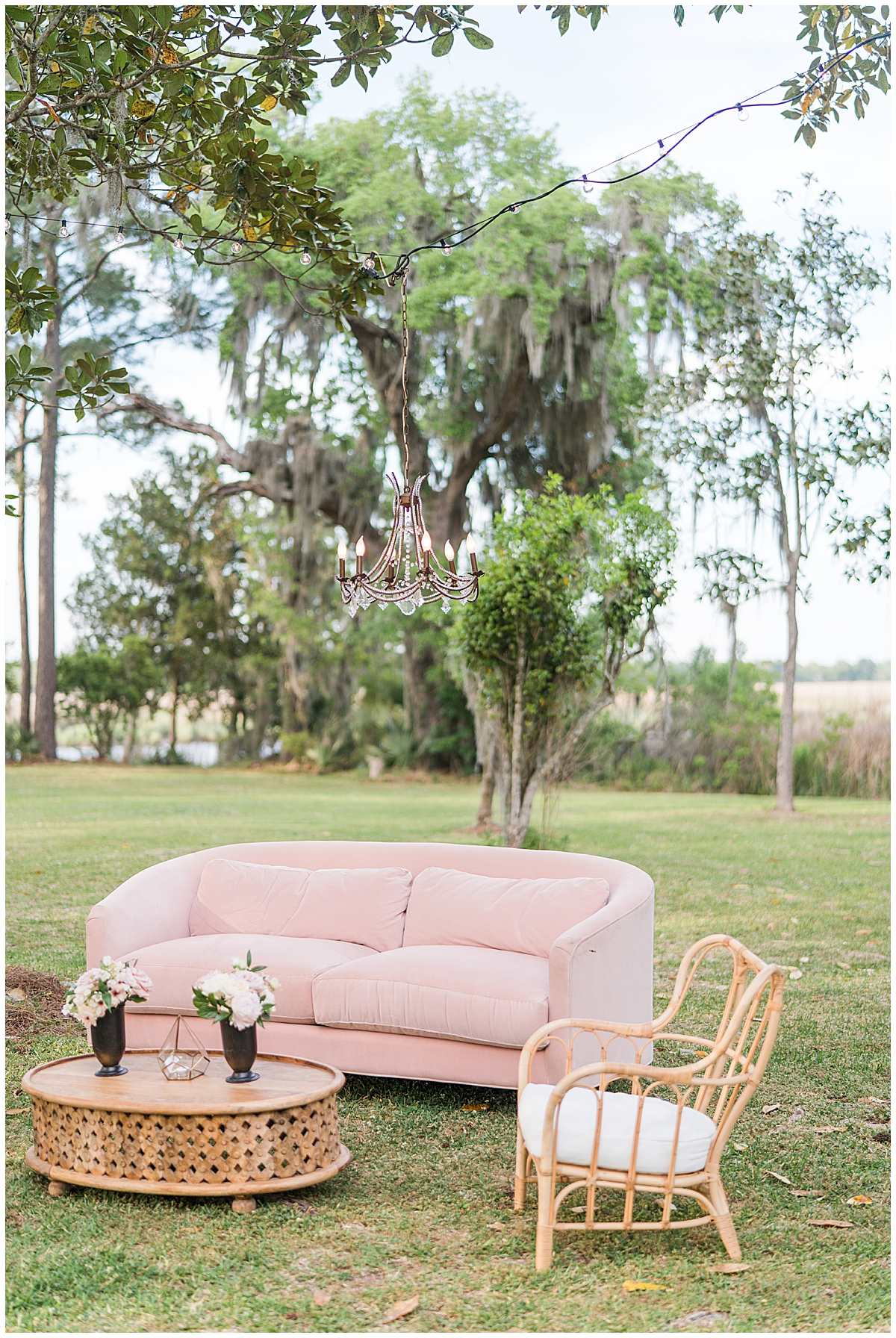 seating during Runnymeade Plantation Charleston wedding reception