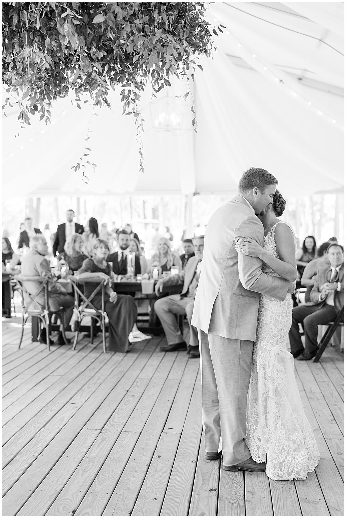 bride and groom dance during Runnymeade Plantation Charleston wedding reception