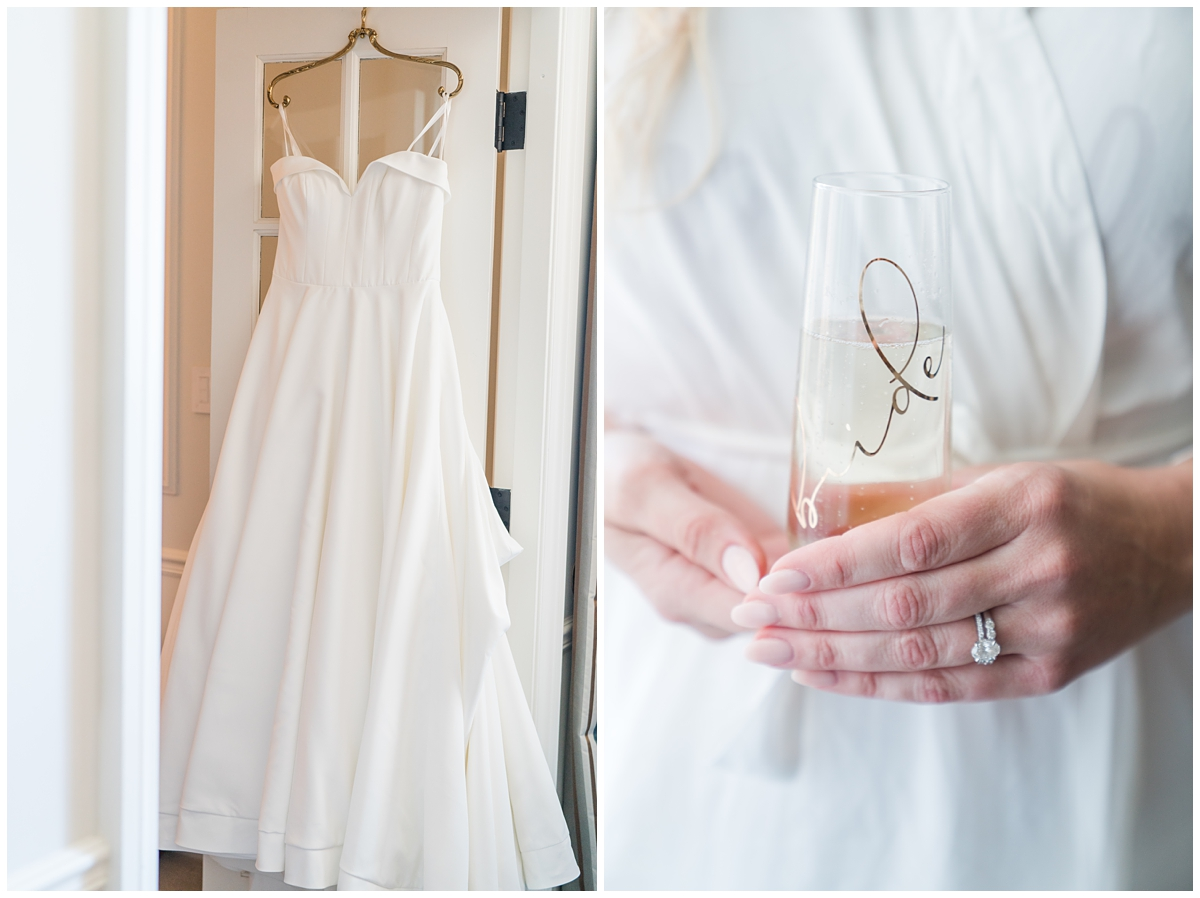 bride holds glass with gold etching on it