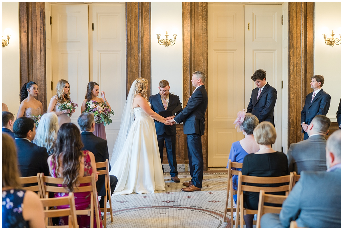 newlyweds exchange vows during Gibbes Museum wedding ceremony