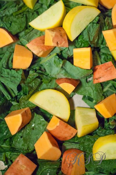 Kate Greer, Kate Styled Pretty, Kale, Yellow Squash, Sweet Potatoes