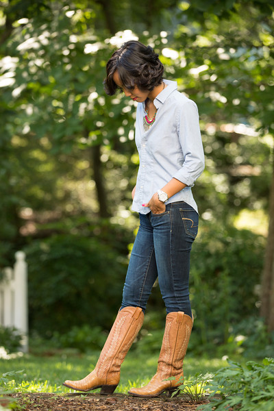 Kate Style Petite, Denim on Denim, Chambry, Cowboy Boots