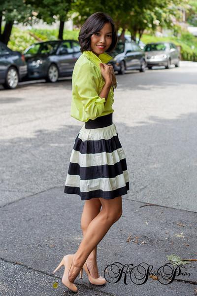 Kate Styled Pretty, Neon, Old Navy, EShakti, Stripped Skirt, Shoedazzle
