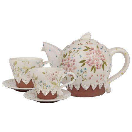 A photo of a handmade ceramic beautiful hydrangea tea set with art deco design
