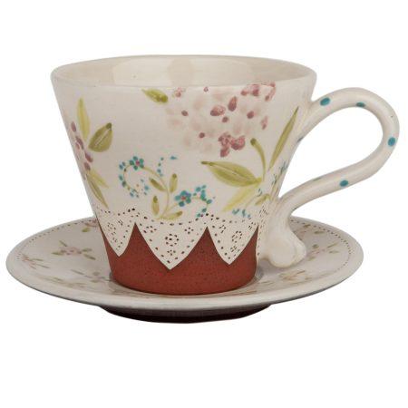 A photo of a handmade ceramic hydrangea tea cup and saucer