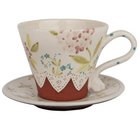 A photo of a handmade ceramic hydrangea tea cup and saucer