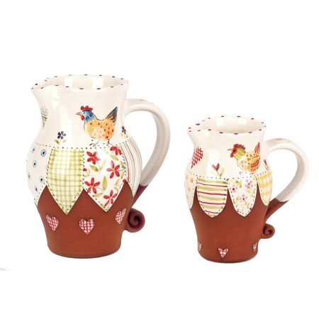 A photo of two handmade ceramic chicken jugs