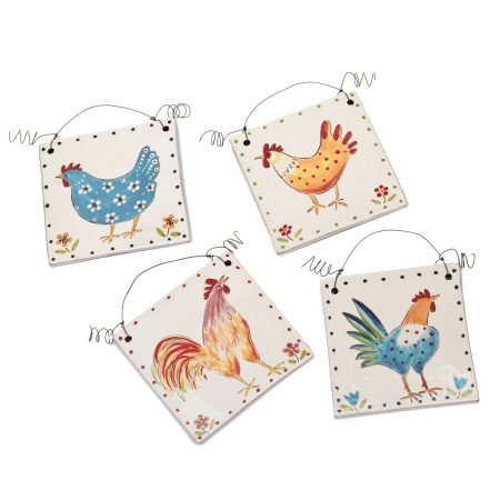 A photo of handmade ceramic Chicken design decorative tiles