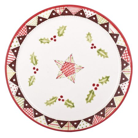 A photo of a handmade ceramic Christmas holly design plate