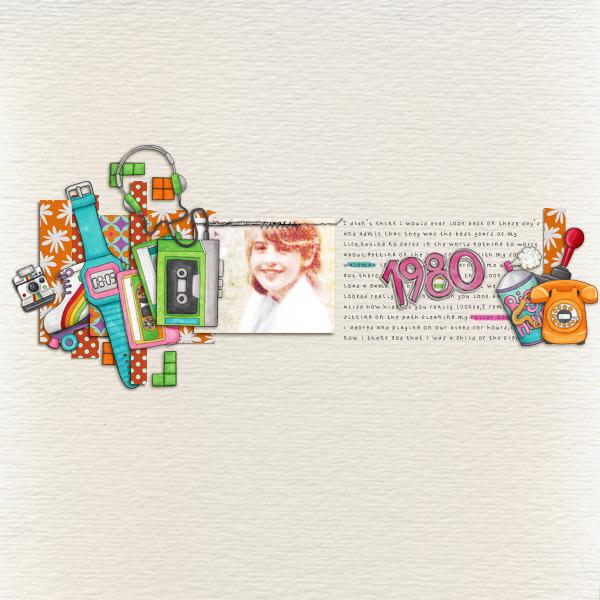 Child of the 80's   Digital scrapbook layout by Kate Hadfield Designs creative team member Karen