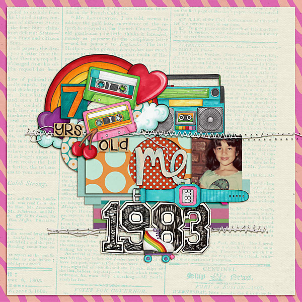Child of the 80's | Digital scrapbook layout by Kate Hadfield Designs creative team member Val