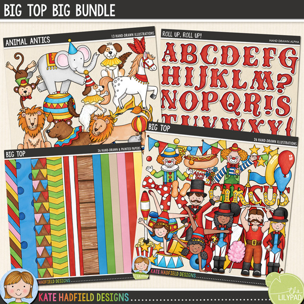 Big Top Big Bundle | circus digital scrapbooking kit from Kate Hadfield Designs
