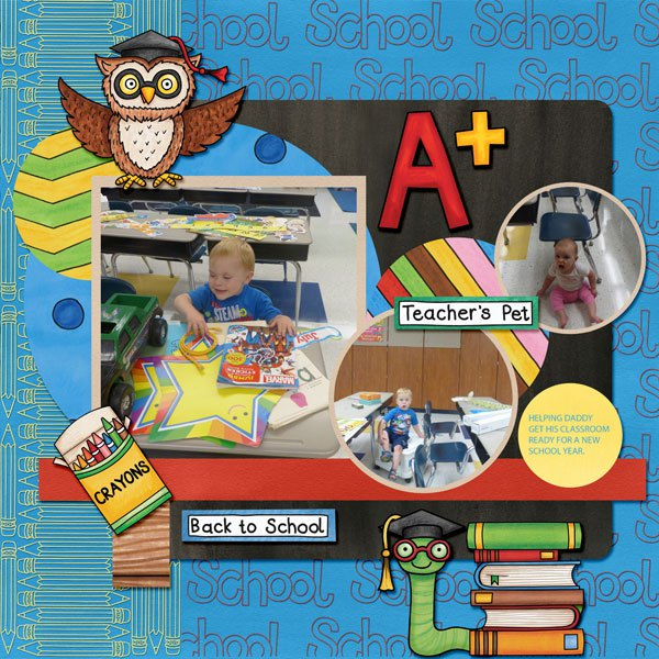 Back to school digital scrapbooking page | school scrapbook layout ideas | Kate Hadfield Designs creative team layout by Amy