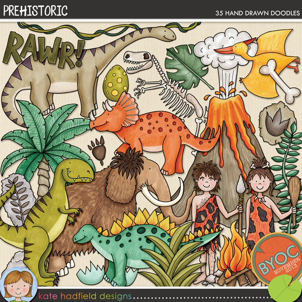 Prehistoric doodles by Kate Hadfield