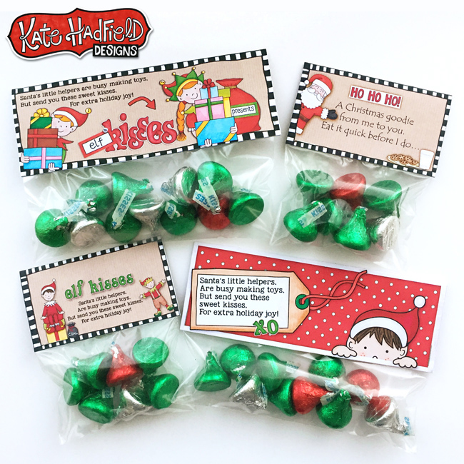 FREE printable Elf Kisses bag toppers from Kate Hadfield Designs - these are so cute!