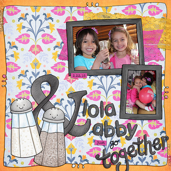 We Go Together Like... digital scrapbooking page | scrapbook layout ideas | Kate Hadfield Designs creative team layout by Jenna