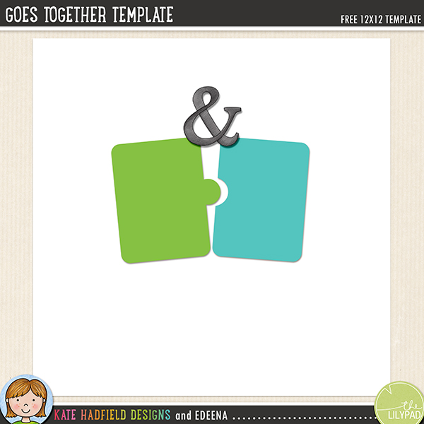"""Goes Together"" free digital scrapbook template from Kate Hadfield! Click for layouts created with this template!"