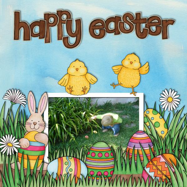 """Happy Easter"" Easter scrapbook layout ideas | digital scrapbooking page by Karen"