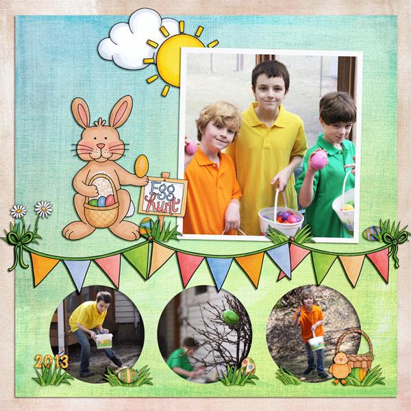 Easter egg hunt scrapbook layout | Kate Hadfield Designs creative team | digital scrapbooking page by Keela