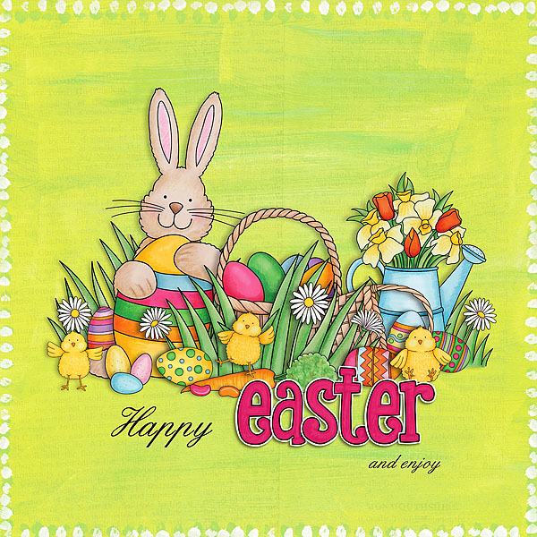 """""""Happy Easter"""" Easter scrapbook layout ideas 