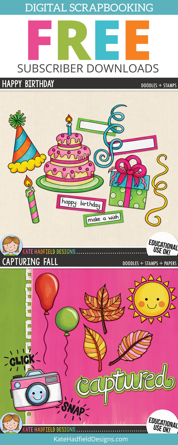 Free digital scrapbooking elements, papers and mini-kits for subscribers & free clip art! A selection of digital scrapbook doodles, elements and papers. Hand-drawn illustrations for digital scrapbooking, crafting and teaching resources from Kate Hadfield Designs!