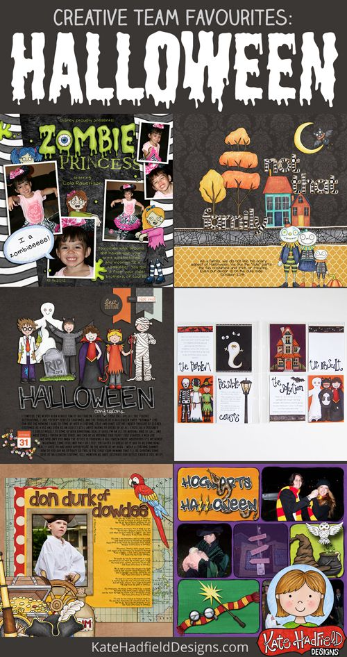 Kate Hadfield Designs Creative Team favourite Halloween scrapbook pages