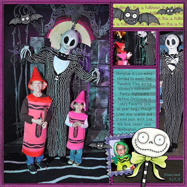 "Kate Hadfield Designs design team ""My favourite Halloween layout"" by Jenna"