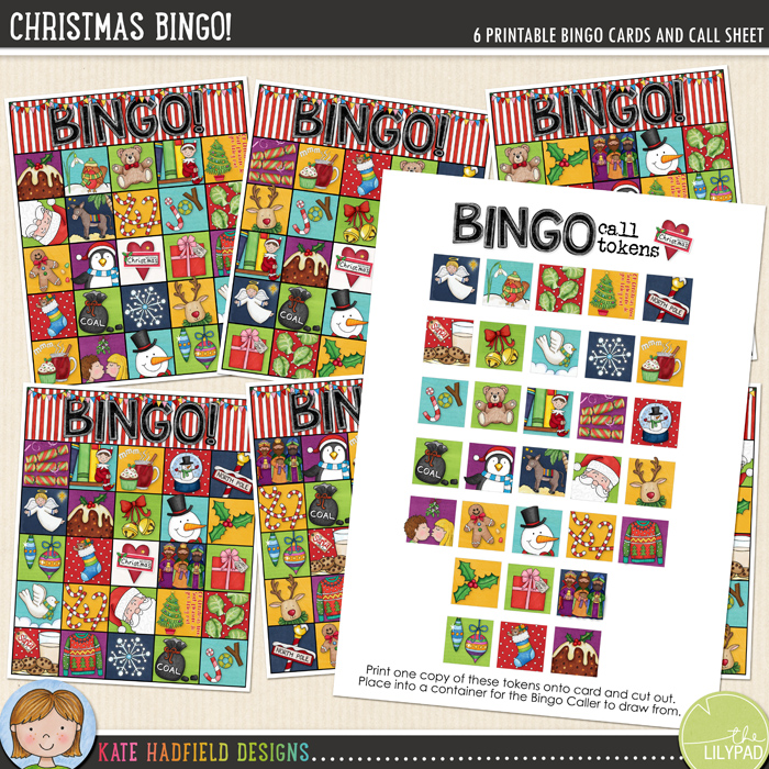 FREE printable Christmas Bingo cards from Kate Hadfield Designs
