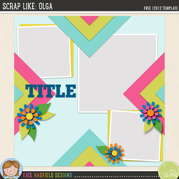 """Scrap Like Olga"" FREE digital scrapbooking template / scrapbook sketch from Kate Hadfield Designs"