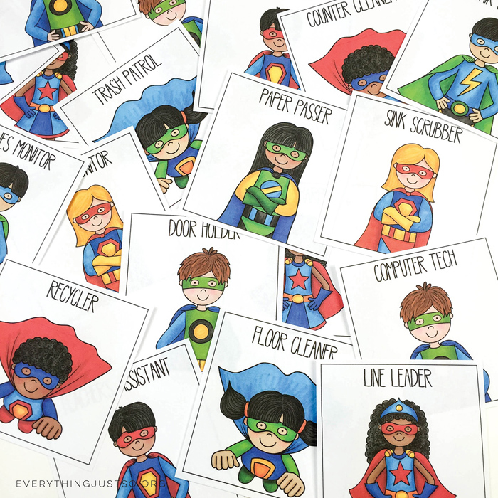 Superhero Classroom Job Cards - everythingjustso.org ~ Kate Hadfield Designs2